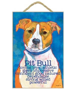 Pitbull (red and white) 7x10 Ursula Dodg