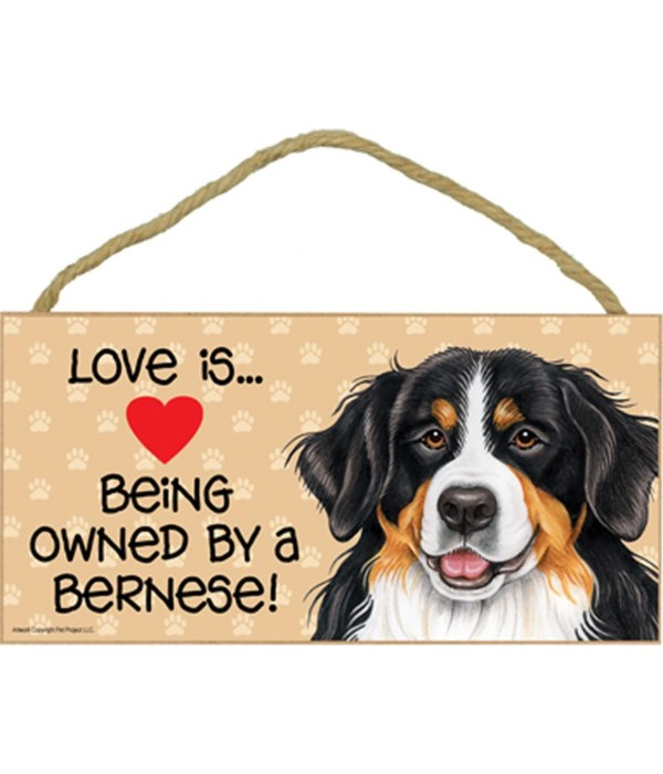 Love is being owned by a Bernese  5x10 Sign