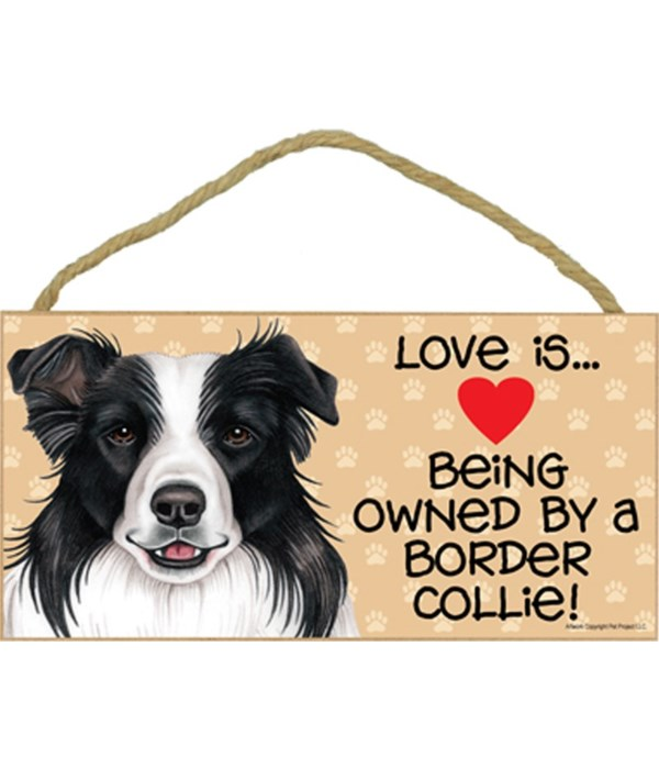 Love is being owned by a Border Collie 5x10 Sign