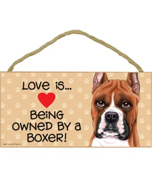Boxer Love Is cropped 5x10 plaque