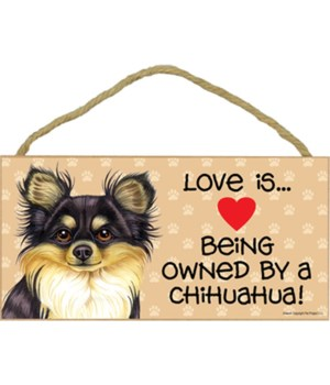 Chihuahua Blk & tan Love Is 5x10 plaque