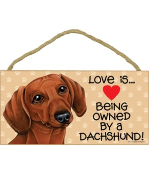 Dachshund brown Love Is.. 5x10 plaque