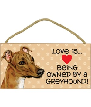 Greyhound brown Love Is.. 5x10 plaque