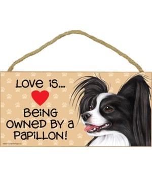 Papillon B & W Love Is.. 5x10 plaque