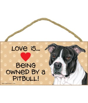 Pitbull (B&W) Love Is.. 5x10 plaque