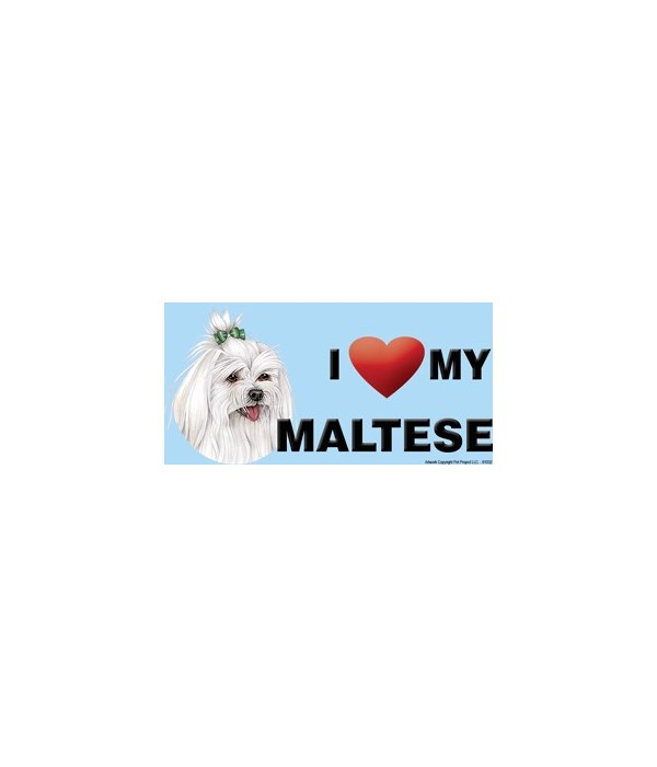 I (heart) my Maltese (with bow in hair)