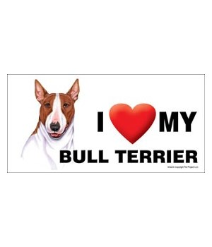 I (heart) my Bull Terrier (Brown and whi