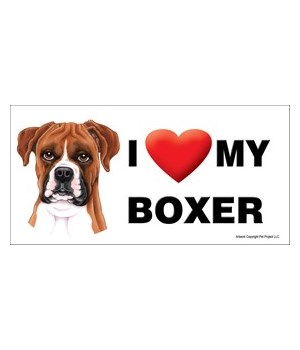I (heart) my Boxer (uncropped ears) 4x8