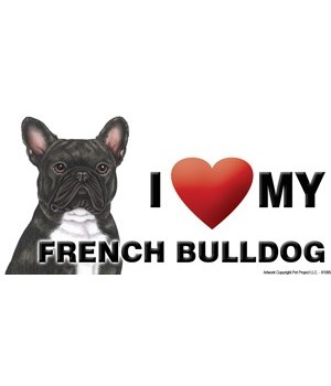 I (heart) my French Bulldog (brindle) 4x