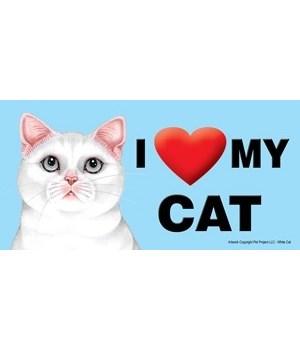 I (heart) my Cat (White Cat) 4x8 Car Mag