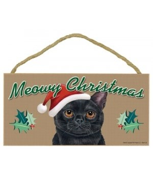Meowy Christmas Black Cat 5x10