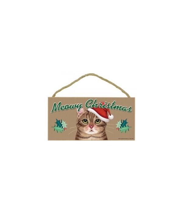 Meowy Christmas Brown Tabby 5x10