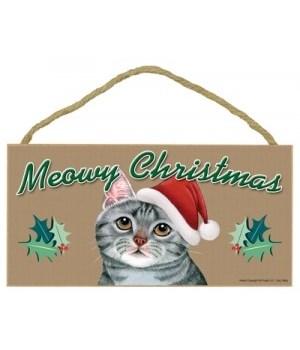 Meowy Christmas Grey Tabby 5x10