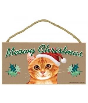 Meowy Christmas Orange Tabby 5x10