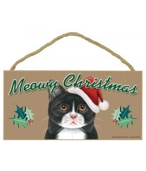 Meowy Christmas Tuxedo (more Black) 5x10
