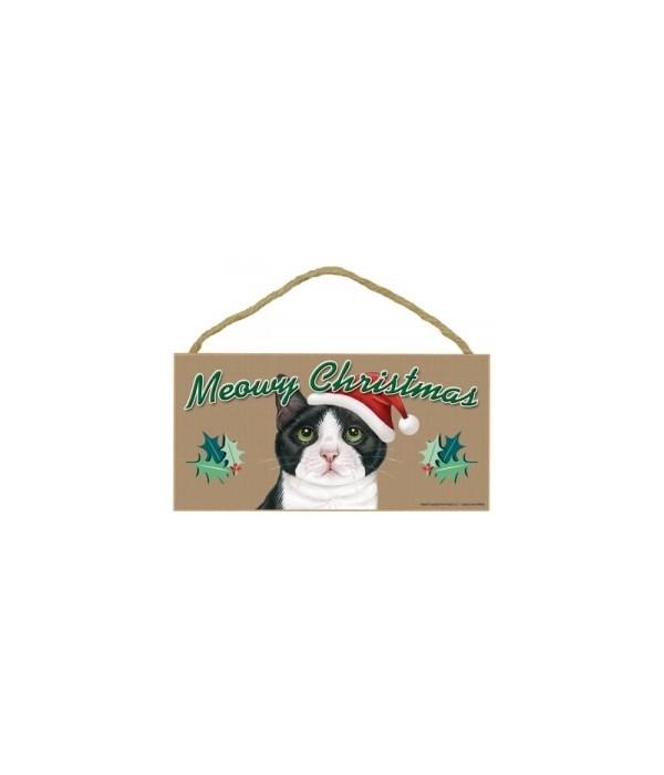 Meowy Christmas Tuxedo (more White) 5x10