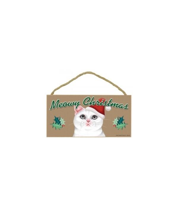 Meowy Christmas White Cat 5x10