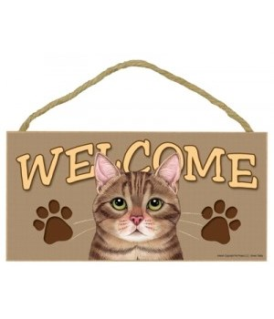 Welcome Brown Tabby 5x10