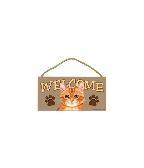 Welcome Orange Tabby 5x10