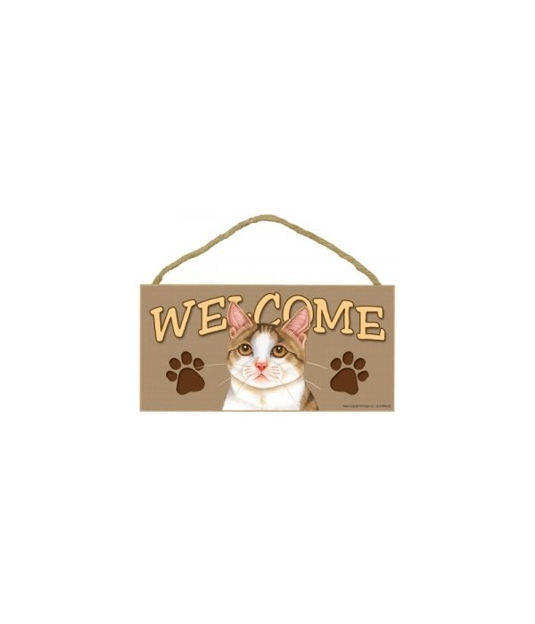 Welcome Tan & White Cat 5x10