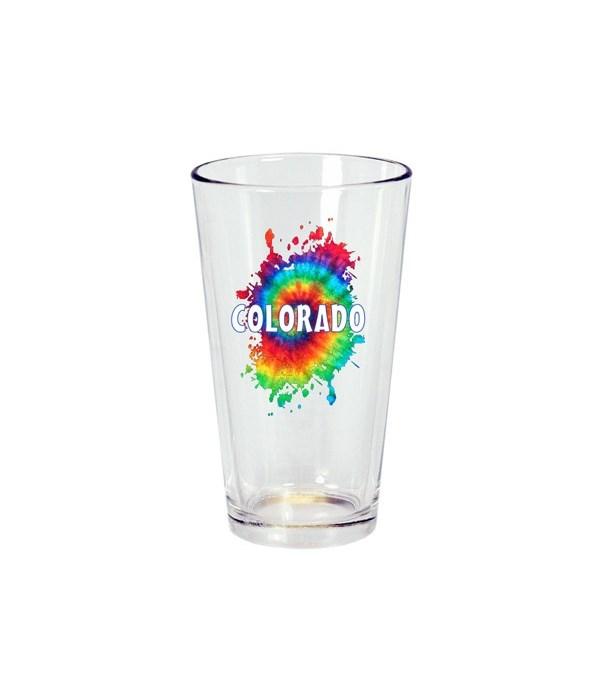 CO Drinkware Pint Glass Tie Dye