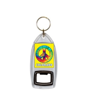 CO Keychain Lucite Bottle Opener Tye Dye