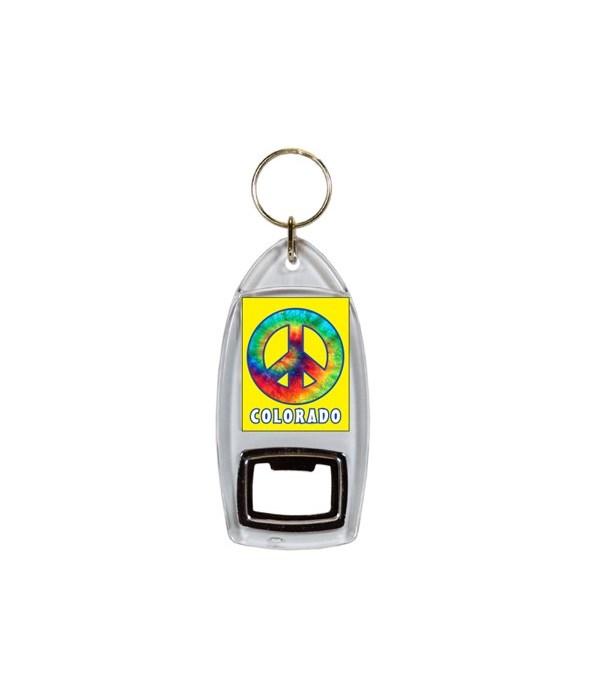 CO Keychain Lucite Bottle Opener Tye Dye