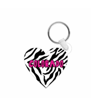 CO Keychain Acrylic Die-Cut Heart Zebra