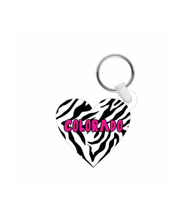 CO Keychain Acrylic Die-Cut Heart Zebra
