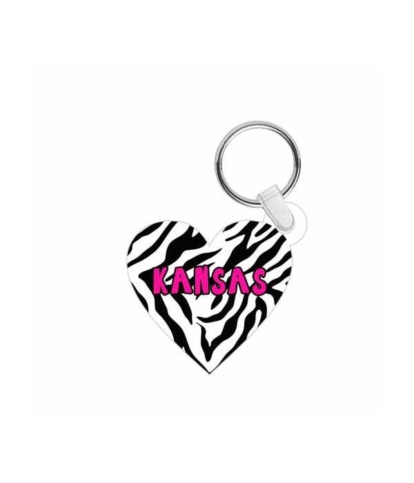 KS Keychain Acrylic Die-Cut Heart Zebra