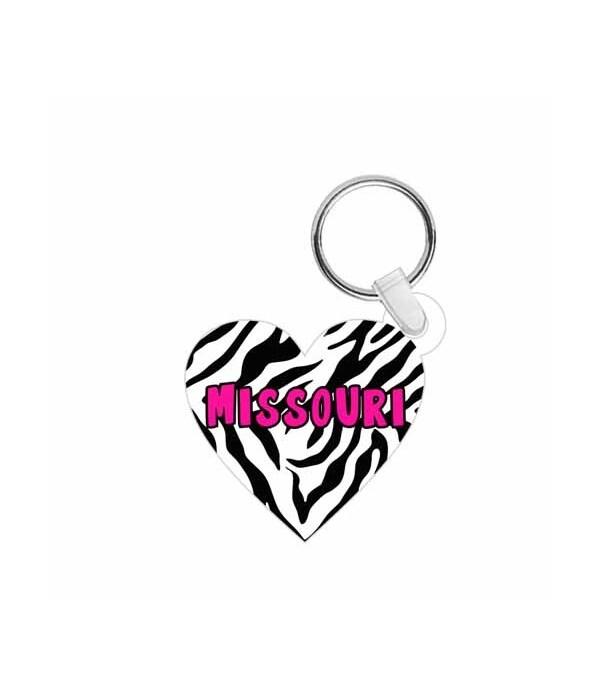 MO Keychain Acrylic Die-Cut Heart Zebra