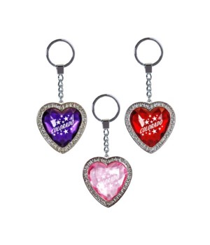 CO Keychain Rhinestone Jewel Heart 3/A