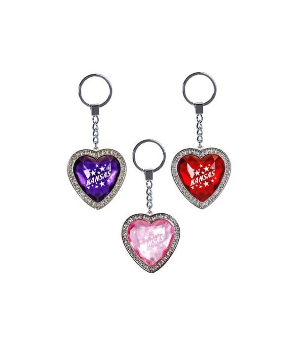 KS Keychain Rhinestone Jewel Heart 3/A