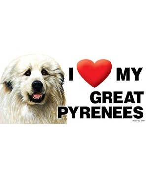 I (heart) my Great Pyrenees 4x8 Car Magn
