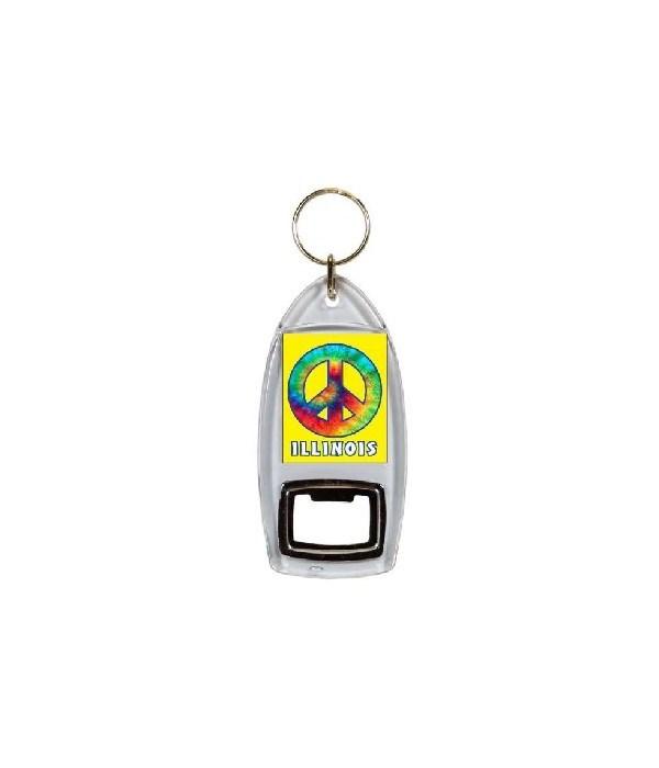 IL Keychain Lucite Bottle Opener Tie Dye