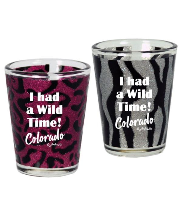 CO Shotglass Wild Animal Print Glitter