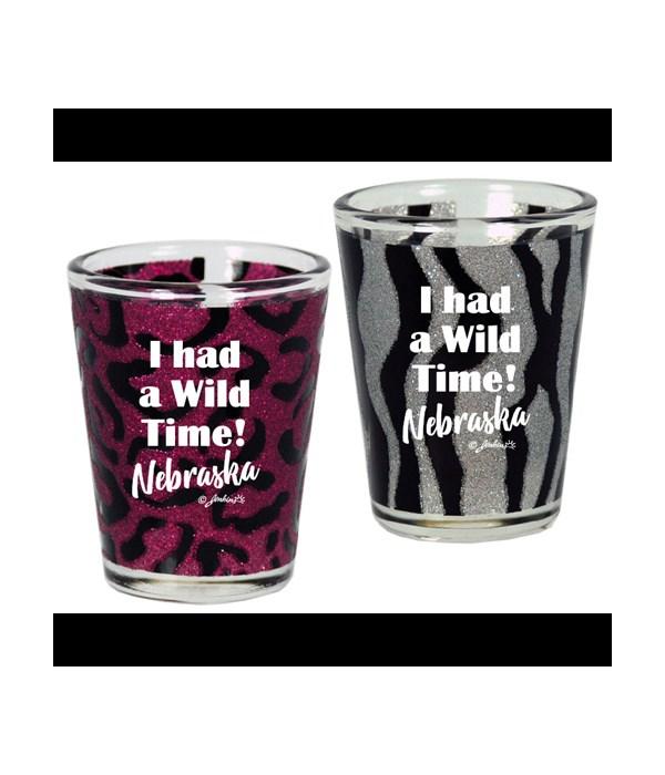 NE Shotglass Wild Animal Print Glitter
