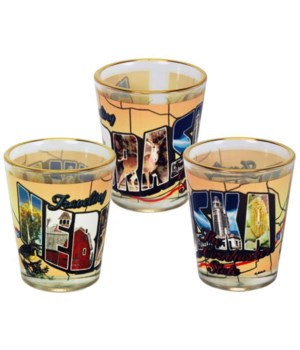 NE Shotglass Gold Rim Postcard