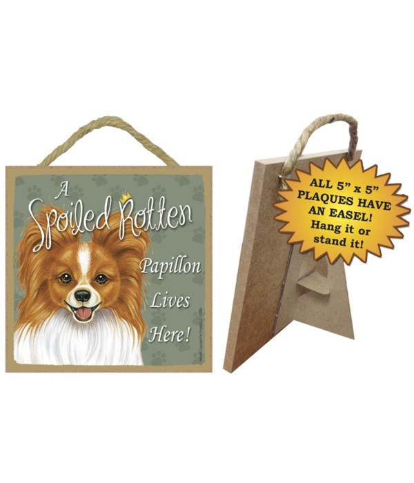 Papillon (red-brn) Spoiled 5x5 Plaque