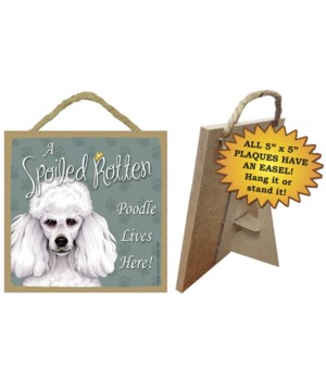 White Poodle Spoiled 5x5 Plaque