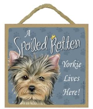 Yorkie Spoiled 5x5 Plaque