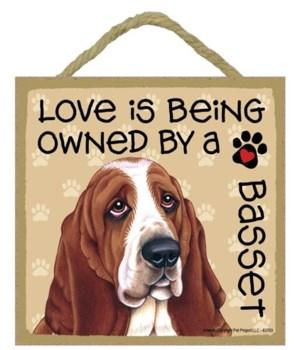 Basset Hound Love Is.. 5x5 plaque