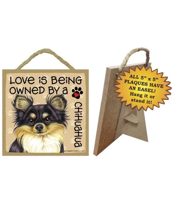 Chihuahua  BlackTan Love Is.. 5x5 plaque