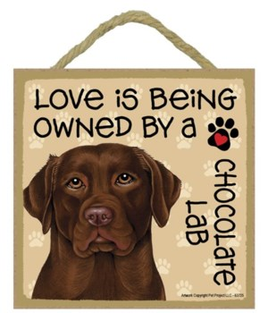 Chocolate Lab Love Is.. 5x5 plaque
