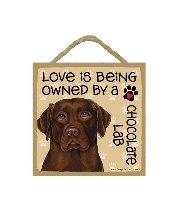 Chocolate Lab Love Is.. 5x5 plaque