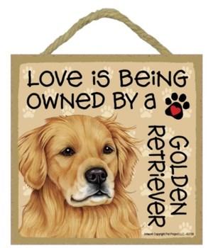 Golden Retriever Love Is.. 5x5 plaque