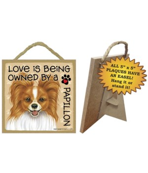 Papillon, Red Love Is.. 5x5 plaque
