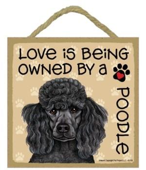 Poodle black Love Is.. 5x5 plaque