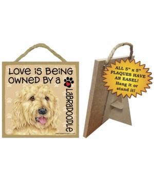 Labradoodle blonde Love Is.. 5x5 plaque