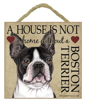 Boston Terrier House 5x5 Plaque